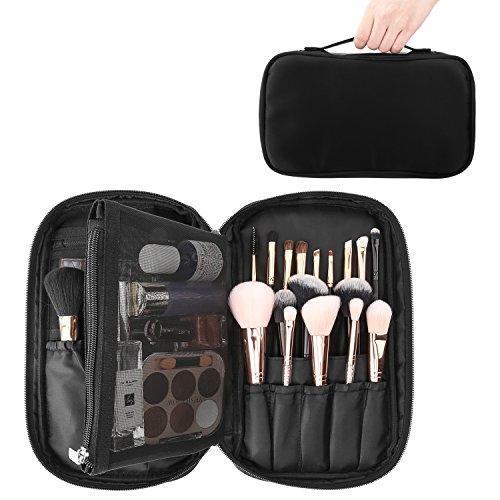 Luxspire Makeup Pinsel Tasche, Tragbar Kosmetiktasche leer ohne Inhalt Wasserdicht Schminktasche Beauty Reisen Aufbewahrung mit Handschlaufe, Schwarz -