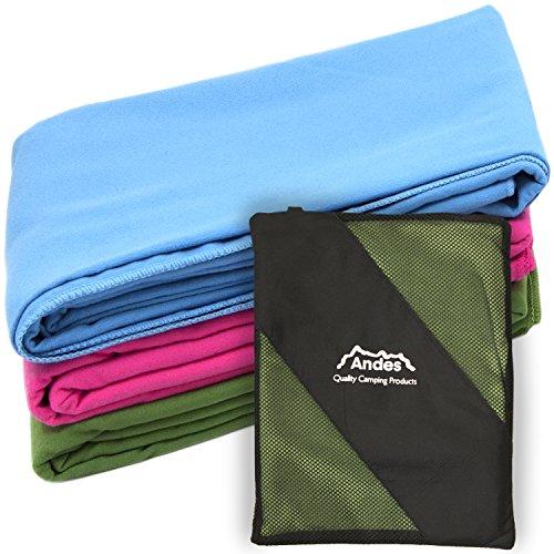 Andes Camping - Reise-Handtuch aus Mikrofaser - Antibakteriell - Olivgrün - Moderne Handtuch-kollektion