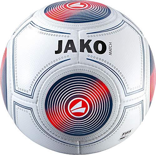 JAKO Spielball Match Ball, weiß/Marine/Flame, 5