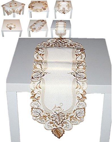 e 30x160 cm weiß BLÄTTER Blatt BRAUN beige Tischläufer HERBST klassisch oval (Herbst Blätter Tischläufer)