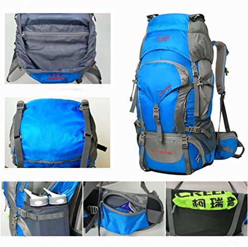 YAAGLE 60L Profi- Outdoor Bergsteigen-Tasche Trekkingrucksäcke für Camping / Wandern / Reisen mit Regenhülle 70x33x28 CM armeegrün
