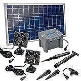 Solar Lüfterset 25W DUO mit Akkuspeicher Luftstrom max. 180m3 2 x Lüfter 92x92mm Solarventilator Belüftungsset Ventilator 101032