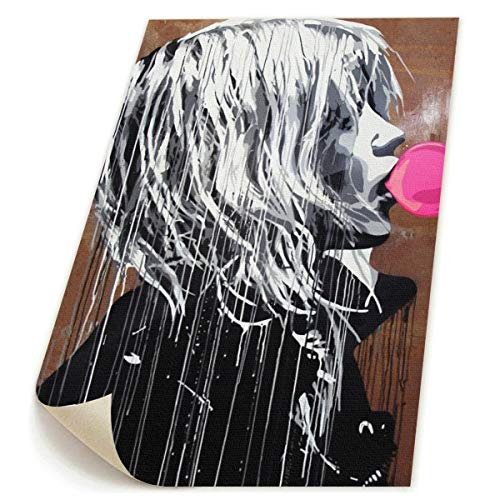 Leinwandbild Banksy Graffiti Art Bubble Gum Girl, 48 x 58 cm, HD Bedruckt, Rahmenlos, für Zuhause, Wohnzimmer, Schlafzimmer, weiß, Einheitsgröße