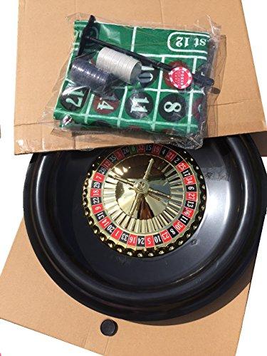 BOXED ROULETTE SET - LARGE WHEEL, FELT, RAKE,BALLS, MARKER + 50 FULL WIDTH STARTER CHIPS