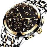 Mens Watches Gold Black Stainless Steel Analog Quartz Watch Luxury Brand LIGE Fashion Business Watch Men Sports Waterproof Round Clock