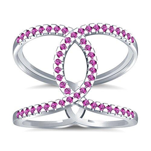 Silvernshine Halo Twist Pink Sapphire CZ Diamond Engagement Ring 14k White Gold PL Bridal Ring