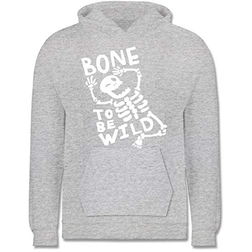 Anlässe Kinder - Bone to me Wild Halloween Kostüm - 9-11 Jahre (140) - Grau meliert - JH001K - Kinder Hoodie