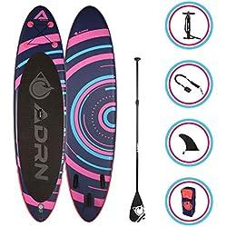 Adrenalin Paddle Gonflable Spiral 10'8 (325cm) - Stand up Paddle avec dérive Centrale, Pompe Double Action, pagaie, Leash et Sac de Transport Option siège Kayak - Pack Complet