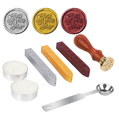 Stamp Seal Dichtung Wachs Retro, klassische, DaSinKo Antik Wachs-Siegel-Stempel Kit Set mit Gold Rot Silber haftet kreative Stempelproduktion Suite (Miss You) (Und Gold Sticks Candle Silber)