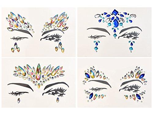 Yolito 4STÜCK Gesicht Schmuck Juwelen Aufkleber Glitter Temporärer Aufkleber Rhinestonekleberfarbe für Stirndekorations-Partei-Stadiums-Leistung (Drücken Juwel)