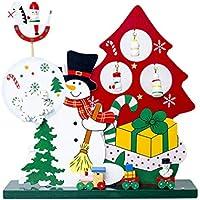 Happy Event Navidad hölzerne Parte Reloj | Papá Noel Muñeco de Nieve Desktop Decoración Regalo