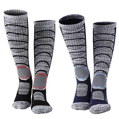Diealles (2 pacchi) calze da sci termiche da uomo per lo sci, escursioni in montagna (37-40) - un paio di nero, un paio di blu scuro