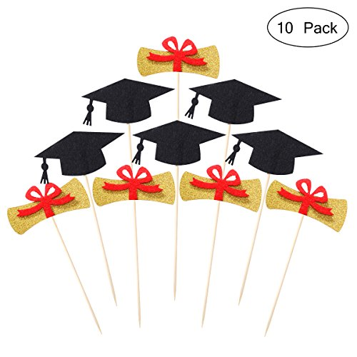 Graduation Cake Toppers Graduation Certificate Cap Cake Picks Sign for Party Decoration ()