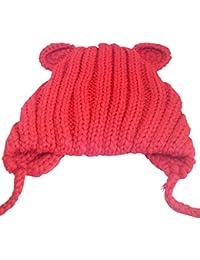 heyu bébé nouveau-né Crochet Knit Cap mignon Chapeau chaud cache-oreilles mignon ours Casquette fait à la main