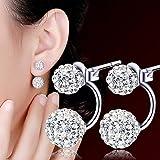 Clipss 1 Paire Femmes Bijoux Argent Double Perlé Strass Cristal Boucles D'oreilles Boucles d'oreilles