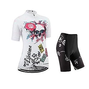 Completo composto da maglia e pantaloncini da ciclismo, a manica corta, da donna, imbottitura 3D,JUNGLEST Torace 85- 91cm Asiatico M