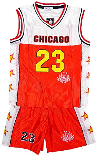 Jungen CHICAGO Basketball Sport Weste Top & Shorts Outfit Set größen 3 bis 14 Jahre - Rot - Rot, Rot, 14 (13-14 Years)