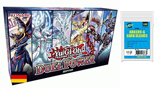 Yu-Gi-Oh! Duel Power Box NEU -DEUTSCH- (6 Booster, 6 Neue Ultra Rare Karten, Spielbrett) + GRATIS Arkero-G 100 Small Soft Sleeves / Kartenhüllen (Yu-gi-oh Karten Monster)