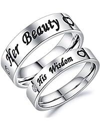 "Bishilin 1 Par Hombres Mujeres Anillo de Acero Inoxidable con Grabado ""HisWesdow Her Beauty"" Corazón Ronda Ancho 6/4 MM  Anillo de Compromiso Plata"