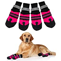 Doggie Style Store Black Pink Large Dog Pet Paw Protectors (Pack of 4) Non Slip Skid Grip Reflective Protective Boots Shoes