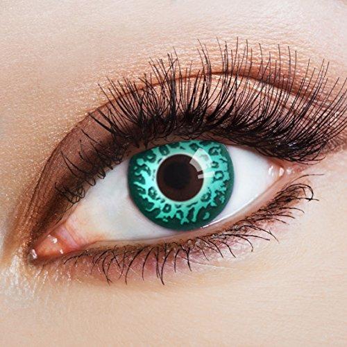 Kostüm Slinky - aricona Kontaktlinsen Slinky Leopard - farbige Jahreslinsen in grün ohne Stärke für Karneval & Halloween Kostüme