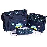 Fafada Borsa Fasciatoio - Set di 4pz Borsa per Bambino Mamma Diaper Bag Sacchetto Pannolino per Bambini Tote Bag Organizzatore con Cinghia per Bottiglia Bagagli Bambino Fasciatoio Blu scuro