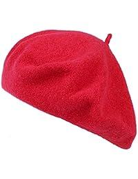 Ogquaton Boina Vintage Clásico Lana Boina francesa Artista Color sólido  Sombrero de lana Moda Gorras calientes para las mujeres Rosa Roja 1… 3bbf3d07a95