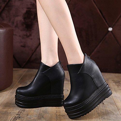 Gtvernh-le Printemps 8.5cm Chaussures Noires Épaisses Faible Pente Avec Des Bottes Et Des Chaussures À Talons Hauts Avec Des Bottes De Martin Muffin Montantes, 35 Trente-cinq