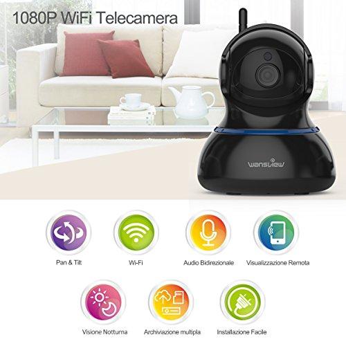 Wansview Videocamera di Sorveglianza, 1080P Telecamera Wi-fi Interno di Sicurezza Per Bambini/Anziani/Pet,Camera IP con PTZ, Audio Bidirezionale e Visione Notturna Q3S (Nero) … - 2