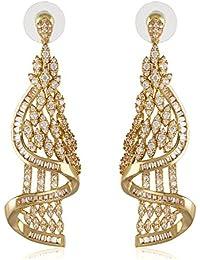 Shaze Golden Elite Party Wedding Earrings For Womens | Earrings For Girls | Earrings For Girls Fancy Party Wear...