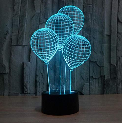ZJFHL 3D LED Luz de Noche Ilusión óptica Lámpara de Mesa Luz iluminación Globo aerostático 7 Colores de Control Remoto con Acrílico Plano & ABS Base & Cargador USB