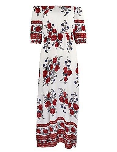 ISASSY Damen Sommerkleid Elegant Schulterfreies Kleid Maxikleid Chiffon Lange Abendkleid Strandkleid Weiß