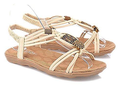 Fortunings JDS scarpe sandali estivi piatto squisito rilievo causali per le donne Bianco