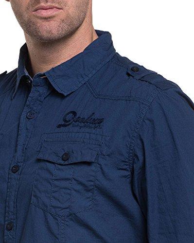 Deeluxe 74 - Chemise homme détente bleu navy brodée Bleu