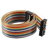 sourcingmap® 2.54mm Pitch 20 Pin 20 Way F/F IDC Flat Rainbow Ribbon Cable 118cm
