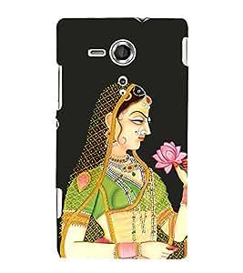 ifasho Designer Back Case Cover for Sony Xperia SP :: Sony Xperia SP HSPA C5302 :: Sony Xperia SP LTE C5303 :: Sony Xperia SP LTE C5306 (Girl With Lotus Girl With Flower Miniature Art Work)