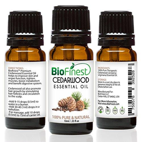 biofinest aceite de madera de cedro–100% puro aceite esencial de madera de cedro–promover el crecimiento del cabello & impulso metabolismo–PREMIUM CALIDAD–grado Terapéutico–mejor para aromaterapia–libre E-BOOK y cuentagotas (100ml)