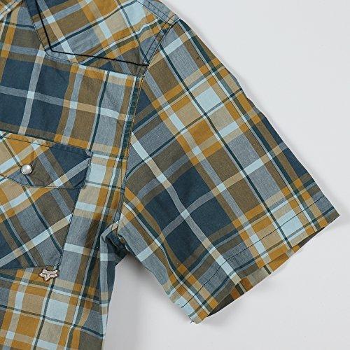 envo da uomo due tasche manica corta Plaid Shirt Royalblue