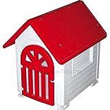 Suinga - Caseta de Plástico para Perros Rojo Dog-House con Puerta. Medidas (