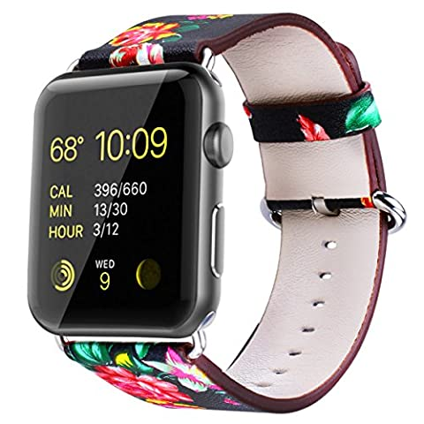 TankerStreet Apple Watch Armband 38mm Leder, iWatch Band Einstellbar Blumendruck, Lederarmband Orientalische Schönheit, Gliederarmband Damen zum series 1,series 2