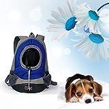 AsiaLONG Hundetasche Rucksack Atmungsaktive Haustier Rucksäcke mit Straps Netzfenster Hundetragetaschen für Kleine Hunde und Mittelgrosse Hunde Reise Umhängetasche (S, Blau) - 7