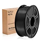 SUNLU PETG 3D Printer Filament, PETG green Filament 1.75 mm, 3D Printing filament Low Odor Dimensional Accuracy +/- 0.02 mm, 2.2 LBS (1KG),Black