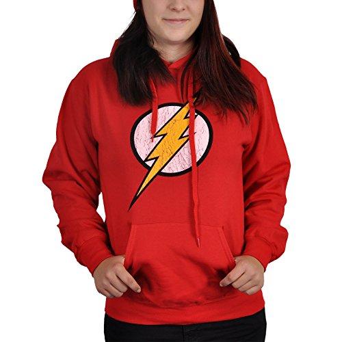 Knallroter Flash Logo Hoodie/Justice League Kapuzenpullover, DC Comics lizenziert - XXL