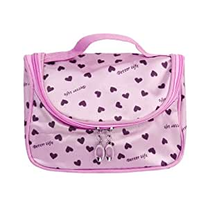Zipper Cosmetic Bag Toiletry Bag Make-up Bag Hand Case Bag--Pink with Heart Patterns