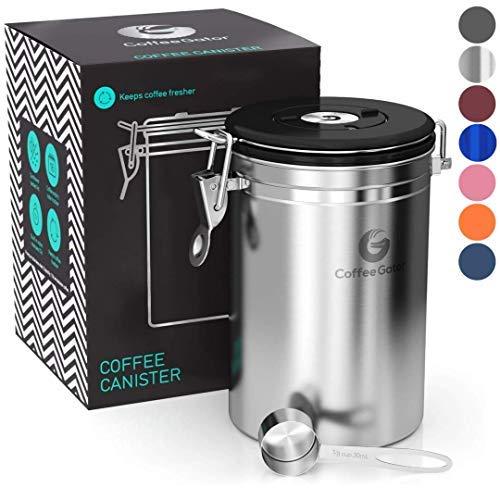 Coffee Gator-Edelstahl-Kaffeedose - Hält gemahlener Kaffee und Bohnen länger frisch - Behälter mit Datumsverfolgung, CO2-Freigabeventil und Messlöffel (Groß, Edelstahl)