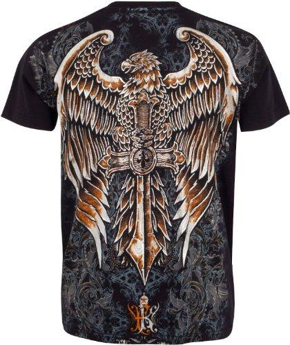 Sakkas Eagle Perched on a Swoderd T-Shirt aus Baumwolle für Männer Schwarz