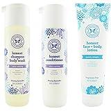 The Honest Company Dreamy Lavender - Shampoo + Body Wash (10 oz) & Conditioner (10 oz) & Unscented Face + Body Lotion (8.5 oz)