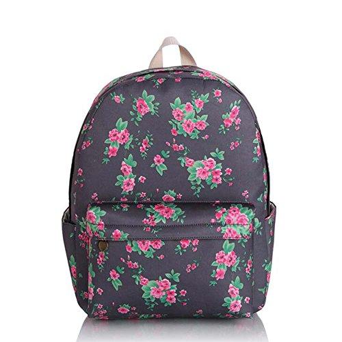 Borsa blu e viola vintage floreale stampato sacchetto di zaino per scuola della borsa del computer portatile dello zaino della tela di canapa per le ragazze delle ragazze delle ragazze Rose Rosse Fiori