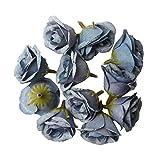 MagiDeal 10pcs Künstlicher Silk Rosen Blumen Kopf Blütenköpfe Für Hochzeit Dekor - Blau, 4.5cm