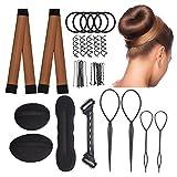 Dutt Maker & Haare Frisuren Set【30 Werkzeuge】【Deutsche Anleitung】Lelengder 2x Donut Hair Bun Maker [braun] , Hairstyle Hilfe | Haar Styling Werkzeug | Haargummi | Dutt Hilfe | Haarspangen für Chönen Haarstylings